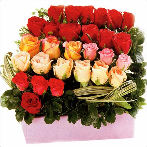 15 adet renkli gül ve cam   Antalya Melisa çiçekçi mağazası