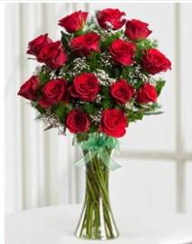 Cam vazo içerisinde 11 kırmızı gül vazosu  Antalya Melisa anneler günü çiçek yolla