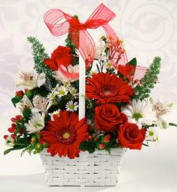Karışık rengarenk mevsim çiçek sepeti  Antalya Melisa internetten çiçek siparişi