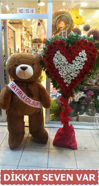 1.5 Metre peluş ayı ve Kalp  Antalya Melisa çiçek gönderme sitemiz güvenlidir
