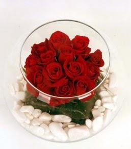 Cam fanusta 11 adet kırmızı gül  Antalya Melisa çiçek gönderme