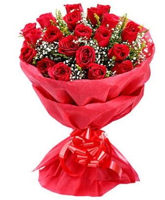 21 adet kırmızı gülden modern buket  Antalya Melisa çiçek gönderme
