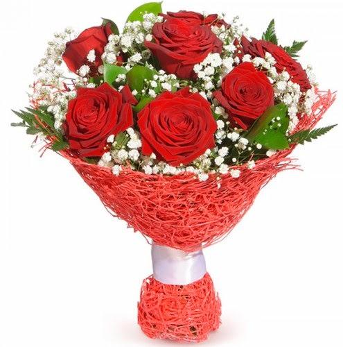 7 adet kırmızı gül buketi  Antalya Melisa çiçekçiler