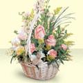 Antalya Melisa 14 şubat sevgililer günü çiçek  sepette pembe güller