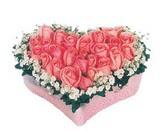 kalp içerisinde 9 adet pembe gül  Antalya Melisa çiçek satışı