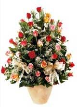 91 adet renkli gül aranjman   Antalya Melisa çiçek gönderme sitemiz güvenlidir
