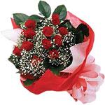 Antalya Melisa internetten çiçek satışı  KIRMIZI AMBALAJ BUKETINDE 12 ADET GÜL