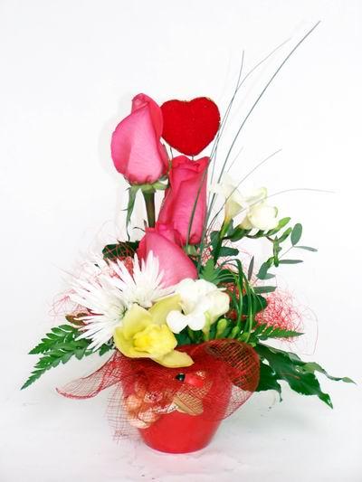 Antalya Melisa ucuz çiçek gönder  cam içerisinde 3 adet gül ve kir çiçekleri