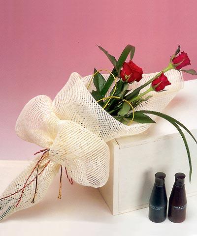 3 adet kalite gül sade ve sik halde bir tanzim  Antalya Melisa internetten çiçek siparişi