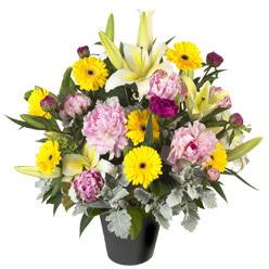 karisik mevsim çiçeklerinden vazo tanzimi  Antalya Melisa uluslararası çiçek gönderme