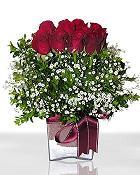 Antalya Melisa çiçek , çiçekçi , çiçekçilik  11 adet gül mika yada cam - anneler günü seçimi -