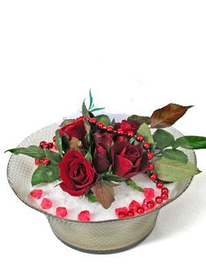 Antalya Melisa çiçek siparişi vermek  EN ÇOK Sevenlere 7 adet kirmizi gül mika yada cam tanzim