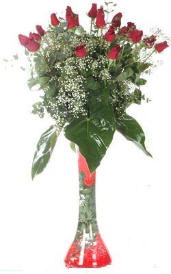 Antalya Melisa uluslararası çiçek gönderme  19 ADET GÜL VE FIL CAM AYAGI