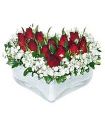 Antalya Melisa internetten çiçek siparişi  mika kalp içerisinde 9 adet kirmizi gül