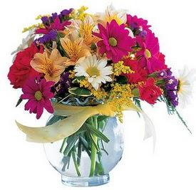 Antalya Melisa internetten çiçek satışı  cam yada mika içerisinde karisik mevsim çiçekleri
