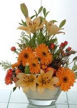 Antalya Melisa çiçek servisi , çiçekçi adresleri  cam yada mika vazo içinde karisik mevsim çiçekleri