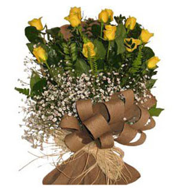 Antalya Melisa çiçek yolla  9 adet sari gül buketi