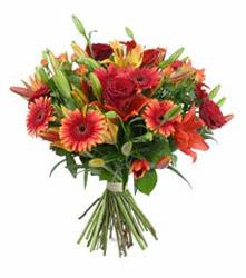 Antalya Melisa çiçek gönderme  3 adet kirmizi gül ve karisik kir çiçekleri demeti