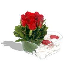 Mika kalp içerisinde 9 adet kirmizi gül  Antalya Melisa çiçek servisi , çiçekçi adresleri