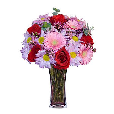 Görsel hediye karisik cam mevsim demeti  Antalya Melisa çiçekçi mağazası