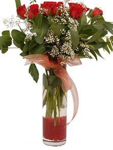 Antalya Melisa uluslararası çiçek gönderme  11 adet kirmizi gül vazo çiçegi