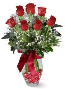 7 adet vazoda gül  Antalya Melisa internetten çiçek satışı  kirmizi gül