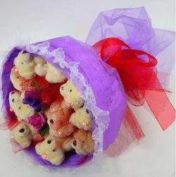 11 adet ayiciktan buket  Antalya Melisa internetten çiçek siparişi