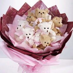 9 adet ayiciktan buket  Antalya Melisa internetten çiçek siparişi