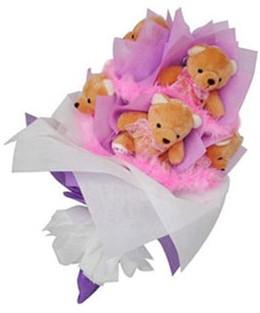 9 adet ayiciktan buket  Antalya Melisa hediye sevgilime hediye çiçek