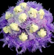 11 adet pelus ayicik buketi  Antalya Melisa çiçek , çiçekçi , çiçekçilik