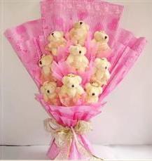 9 adet pelus ayicik buketi  Antalya Melisa anneler günü çiçek yolla