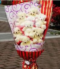 11 adet pelus ayicik buketi  Antalya Melisa ucuz çiçek gönder