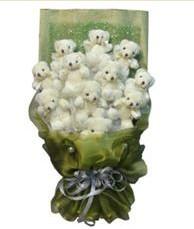 11 adet pelus ayicik buketi  Antalya Melisa online çiçek gönderme sipariş