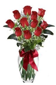 11 adet kirmizi gül vazo mika vazo içinde  Antalya Melisa 14 şubat sevgililer günü çiçek
