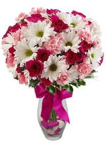 Antalya Melisa çiçek siparişi sitesi  Karisik mevsim kir çiçegi vazosu