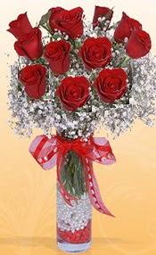 10 adet kirmizi gülden vazo tanzimi  Antalya Melisa çiçek siparişi sitesi