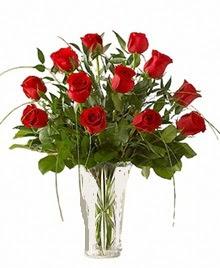 cam yada mika vazo içerisinde 9 kirmizi gül  Antalya Melisa çiçek siparişi sitesi