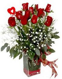 Antalya Melisa çiçek siparişi vermek  9 adet mika yada cam vazoda gül tanzimi kalp çubuk
