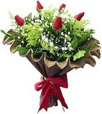 Antalya Melisa online çiçek gönderme sipariş  5 adet kirmizi gül buketi demeti
