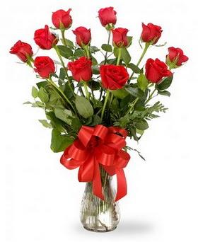 Antalya Melisa çiçek , çiçekçi , çiçekçilik  12 adet kırmızı güllerden vazo tanzimi
