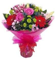 Karışık mevsim çiçekleri demeti  Antalya Melisa online çiçek gönderme sipariş