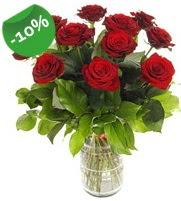 11 adet vazo içerisinde kırmızı gül  Antalya Melisa online çiçek gönderme sipariş