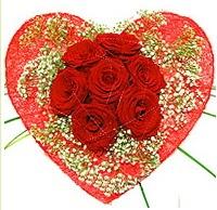 Mika kalp içerisinde 7 adet kırmızı gül  Antalya Melisa çiçekçi mağazası