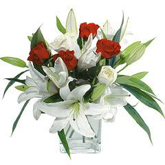 vazo içerisinde 4 gül 1 adet kazablanka  Antalya Melisa online çiçek gönderme sipariş