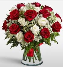 Vazoda 12 kırmızı 12 beyaz gül tanzimi  Antalya Melisa uluslararası çiçek gönderme