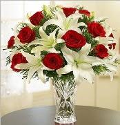 12 adet kırmızı gül 2 dal kazablanka vazosu  Antalya Melisa çiçek satışı