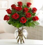 Vazo içerisinde 12 kırmızı gül  Antalya Melisa çiçek satışı