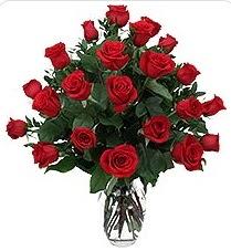 Antalya Melisa çiçek siparişi sitesi  24 adet kırmızı gülden vazo tanzimi