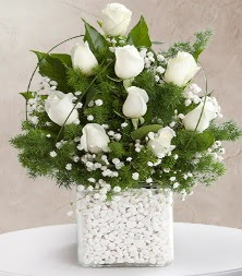 9 beyaz gül vazosu  Antalya Melisa çiçek satışı
