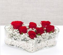 kalp içerisinde 7 adet kırmızı gül  Antalya Melisa çiçek siparişi vermek